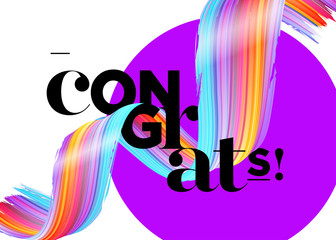 Congrats Vector Card. Congratulations Graduates 2018 Logo. Creative Ultraviolet Background Design for Certificate, Award Banner, Poster, Invitation, Banner. Congratulations Message for Achievement.