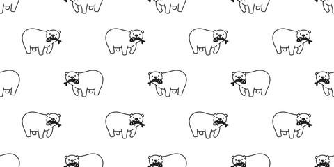 Bear seamless pattern vector polar bear panda isolated catch fish repeat wallpaper background cartoon