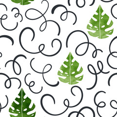 Floral seamless vector pattern. Scandinavian background. Cute plants, white background