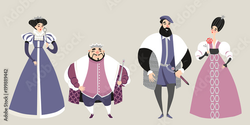 The royal family  Fairy tale  Funny cartoon characters in historical