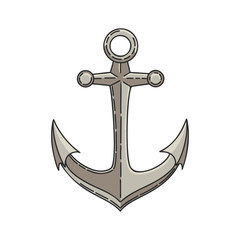 Hand drawn vector cartoon anchor isolated on white background