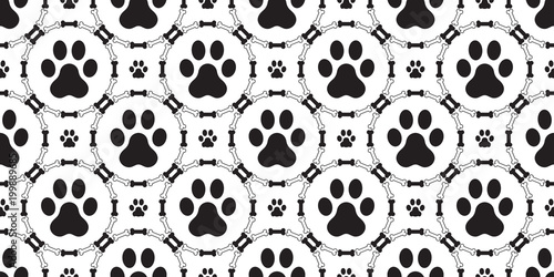Dog Paw Seamless pattern vector isolated dog bone puppy cat repeat