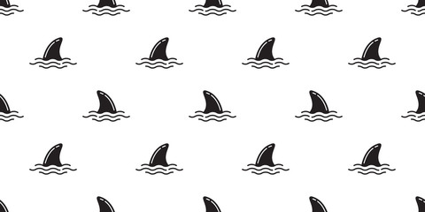shark fin seamless pattern vector dolphin isolated whale sea ocean wave island beach tropical summer repeat background wallpaper