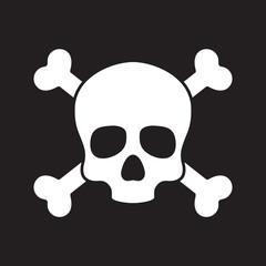 Skull pirate icon logo vector cross bone Halloween illustration graphic