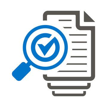 Magnifying Glass Check Mark Like Files Assess Icon Vector. Sheets of Paper Checkmark Loupe Illustration. Assessment Logo. Audit Symbol.