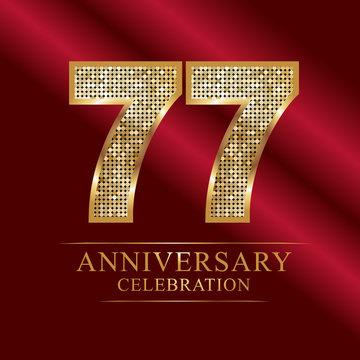 anniversary celebration logotype. 77th anniversary logo.disco numbers.