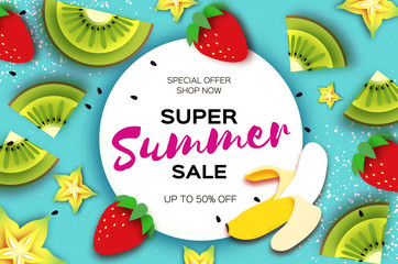 Slice of kiwi and carambola. Strawberry and Banana. Super Summer Sale Banner in paper cut style. Origami juicy ripe green yellow slices. Healthy food on blue. Circle frame for text. Summertime.