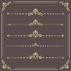 Vintage set of vector decorative elements. Horizontal separators in the frame. Collection of different ornaments. Classic patterns. Set of golden vintage patterns