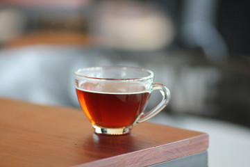 Fotobehang Thee tea cup on wooden table