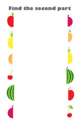 Find the second part of fruit (apple, cherry, orange, pineapple) in cartoon style for children, preschool worksheet activity for kids, task for the development of logical thinking, vector illustration