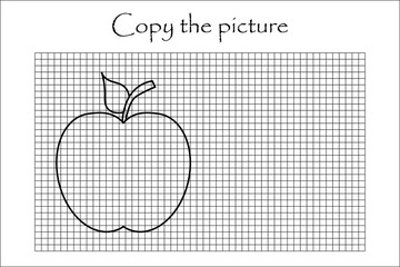 Copy the picture, black white apple, drawing skills training, educational paper game for the development of children, kids preschool activity, printable worksheet, vector illustration