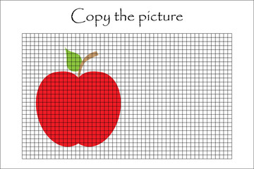 Copy the picture, apple in cartoon style, drawing skills training, educational paper game for the development of children, kids preschool activity, printable worksheet, vector illustration