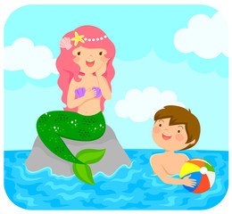 Mermaid sitting on a rock in the sea smiling to a boy with a beach ball.