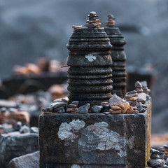Pile of rocks at a temple in Laos