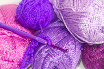 wool and violet needles