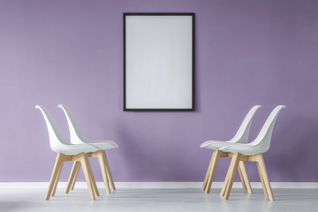 Interior with chairs, mockup poster