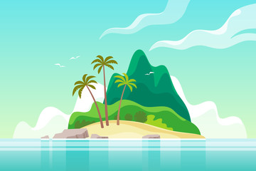 Poster Green coral Tropical island with palm trees. Summer vacation. Vector illustration.