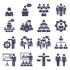Group of business people icons set. Vector Illustrations. .