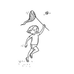 Vector sketch boy run net to catch butterflies. Active play children teenager walk in summer on outdoor sun shining black white isolated illustration.