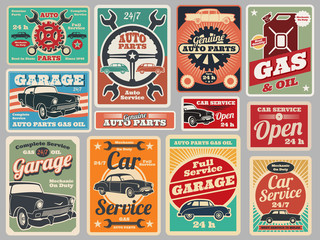 Vintage road vehicle repair service, gas station, car garage vector signs