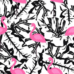 flamingo pattern on black and white