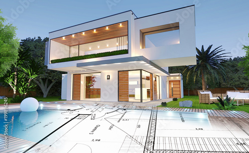Plan d\'une maison moderne d\'architecte avec piscine\