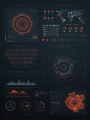 Digital futuristic hud virtual interface. Vector technology screen with data graphs