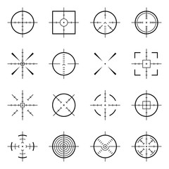 Unusual bullseye, accurate focus symbols. Precision aims, shooter target vector icons