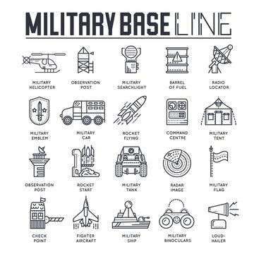Thin line set of different rocket weapons and vehicles on military base concept.  Outline military base vector illustrationd design
