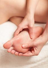 Close up of women feet during massage