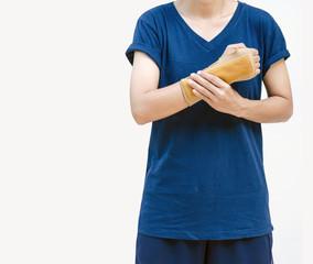 insurance sport, badminton player with wrist splint on arm