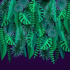 Green tropical leaves and plants Isolated on ultraviolet background Tropical foliage Cut paper Vector