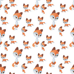 Fox family. Seamless pattern with cute animals and their cubs. Colorful vector background in cartoon style.