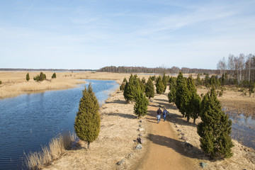 Bird watching place in lake Kanieris, Latvia. 2018