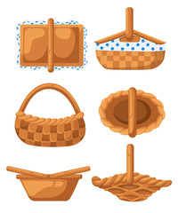 Set of wicker baskets. View from different angles. Vector illustration isolated on white background. Website page and mobile app design