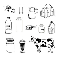 Set of various doodles, hand drawn rough simple sketches of different kinds of diary products.  freehand illustration isolated on white background.
