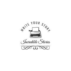 Typewriter badge.  illustration isolated on white