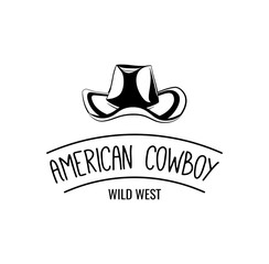 Cowboy hat. Wild West Label. Rodeo Competition Badge. Western Illustration.  Isolated On White