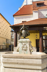 Fototapete - Bamberg Girl's Fountain of1915th , details of old market square in Poznan at summer day, Poland