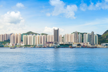 Hong Kong skyline in summer day. Yau Tong