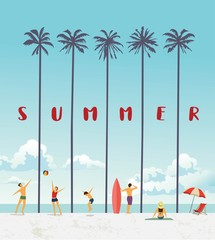 Summer holiday poster. Vector illustration.
