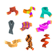 Flatvector set of warm woolen and knitted scarves for children and adult in cold weather. Stylish winter accessories