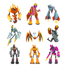 Flat vector set of bright-colored transformer robots. Futuristic monsters with metal body. Strong cyborgs. Fantasy warriors