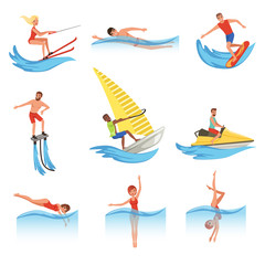 Flat vector set with young men and women involved in various water sports. Active lifestyle. Summer vacation. Outdoor recreation
