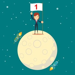 astronaut girl moon landing. a businesswoman conquered the moon. Happy businessman holding number one flag. Start up business concept. Stock flat vector illustration.