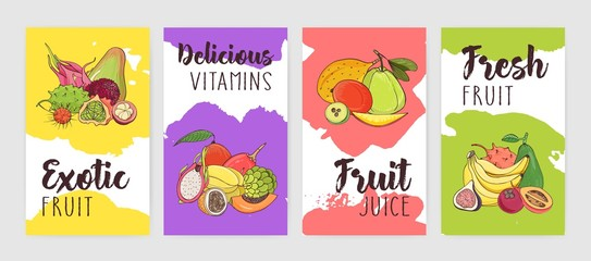 Collection of poster of flyer templates with piles of delicious ripe fresh juicy exotic tropical fruits against bright colored paint stains or blots on background. Colorful vector illustration.
