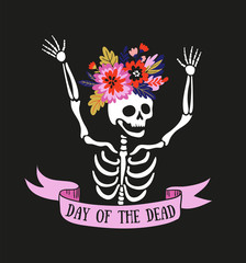 Skeleton in the floral wreath. Vector holiday illustration for Day of the dead or Halloween. Funny card design.