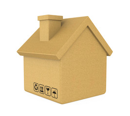 Cardboard Box House Isolated (Moving House Concept)
