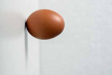 Minimalism. one raw egg stands horizontally on the wall on a white background. concept of diligence, endurance, overcoming, against the rules