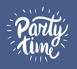 Party time lettering. Modern brush calligraphy.